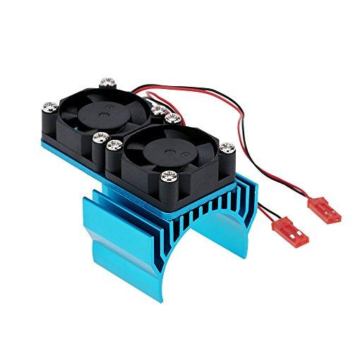 Baoblaze Motor Kühlkörper mit 2 Lüfter für 1/10 HSP RC Rennauto Motor 540/550, Motorkühlung Zubehör Zwei Lüfter schützen den Motor vor Überhitzung - Blau