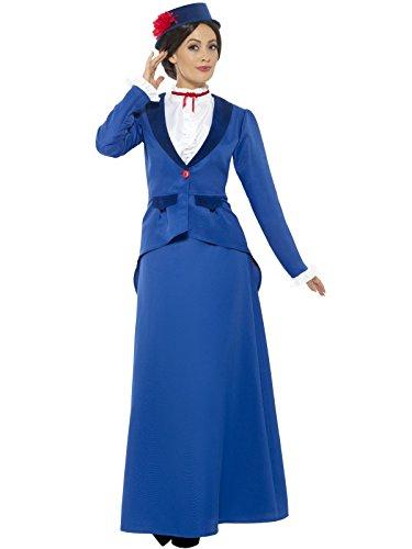 Smiffys, Damen Vikorianisches Kindermädchen Kostüm, Jacke mit Oberteil, Rock und Hut, Größe: 40-42, 46753 (Viktorianischen Tag Kostüme)