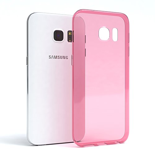 "EAZY CASE Handyhülle für Samsung Galaxy S7 Hülle - Premium Handy Schutzhülle Slimcover ""Brushed"" Aluminium Design - TPU Silikon Backcover in brushed Hellblau Clear Rosa"