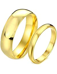 Peora Gold Plated Engagement Promise Band Couple Rings for Lovers Valentine Jewellery Gift Sets for Men and Women Girlfriends Boyfriends