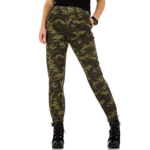 Ital-Design High Waist Camouflage Jeans Für Damen, Grün In Gr. M/38