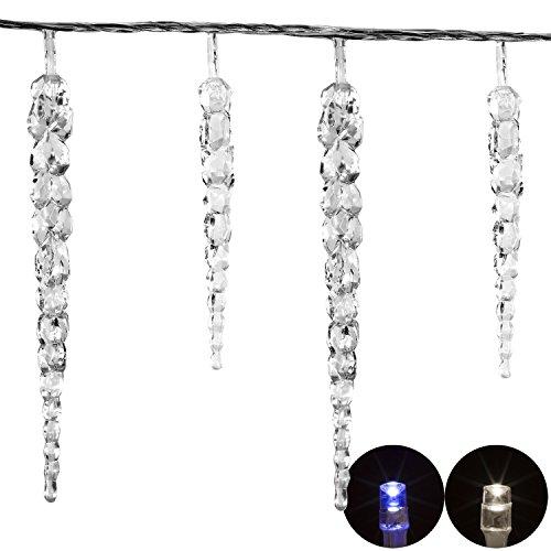 VOLTRONIC® 40 LED Lichterkette Eiszapfen in blau, Dekra GS Adapter, IP44, INNEN + AUSSEN, 11m Länge