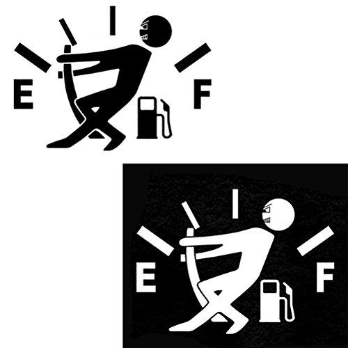 WINOMO Funny Car Stickers Hohe Gasverbrauch Aufkleber Fuel Gage Leere Aufkleber Auto Reflektierende Aufkleber (weiß)
