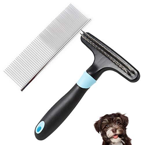 Hundepflege Rechen Zweireihig Hundekamm Dematting Tool Edelstahl Schuppen Kamm Haustiere Entfernen Sie lose Wirren Haare von der Unterwolle,Blue -