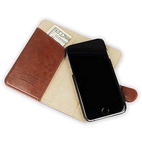 """QIOTTI >             APPLE iPHONE 7 / 7S (4,7"""")             < incl. PANZERGLAS H9 HD+ 2-in-1 Booklet mit herausnehmbare Schutzhülle, magnetisch, 360 Grad Aufstellmöglichkeit, Wallet Case Hülle Tasche handgefertigt aus Eco-Fa BRAUN"""
