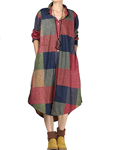 Klassische Bluse Findet (Vogstyle Damen Shirtkleider Langarm Bluse Vintage Bedruckte Strickjacke Plaid Patter L)