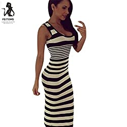 DAYSEVENTH Latest Style Sexy Women Striped Loose Long Beach Party Casual Dress
