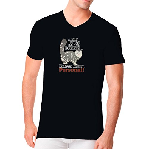 Im-Shirt - Katzen haben Personal cooles Fun Men V-Neck - verschiedene Farben Schwarz