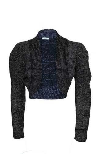 Fashion 4 weniger Damen Lang Metallic Lurex Sleeve Bolero Damen vorne offen Stretch Bolero zuckt zugeschnitten Knit mit Top, Schwarz, M / L (Top Knit Metallic)