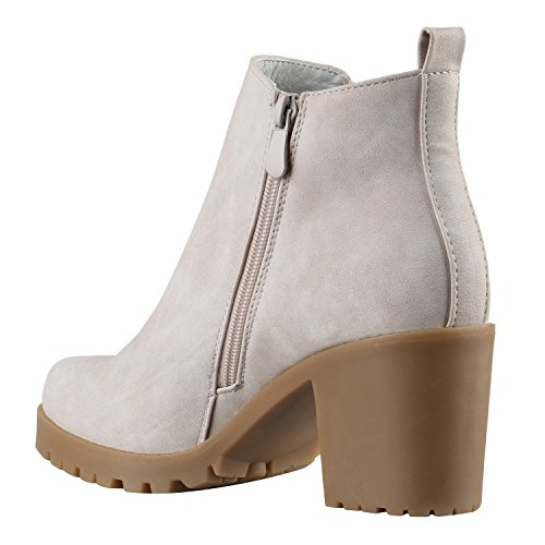 Damen Stiefeletten Blockabsatz Chelsea Boots Profilsohle Creme Beige Glatt