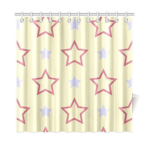 JOCHUAN Home Decor Bad Vorhang Blau Rosa Fünf Sterne Polka Dot Polyester Stoff Wasserdicht Duschvorhang Für Badezimmer, 72 X 72 Zoll Duschvorhänge Haken Enthalten -