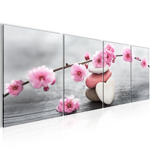 Bilder Feng Shui Blumen Wandbild 160 x 50 cm Vlies - Leinwand Bild XXL Format Wandbilder Wohnzimmer Wohnung Deko Kunstdrucke Pink 4 Teilig...