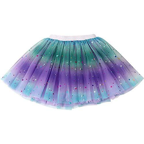 Kostüm Lila Feen Mädchen - Ruiuzi Tutu-Rock Regenbogen für Kinder, Mädchen, klassisch, 3-lagig, Tüll, Tutu, Rock für Partys, Halloween, Partys, Kostüme (Lila, Mädchen (3-8 Jahre))