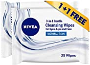 NIVEA 3in1 Refreshing Cleansing Wipes for Normal Skin - Pack of 2 Pcs (2 x 25 Sheets)