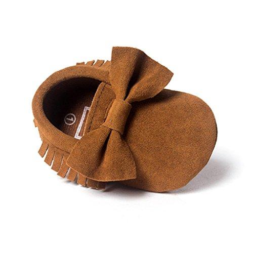 Ouneed® Krabbelschuhe , 0-18 Monate Babybett Quasten Bowknotschuhe Kleinkind Turnschuh Freizeitschuhe Kaffee