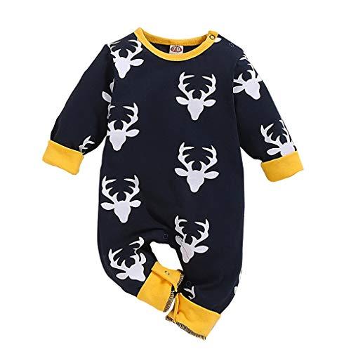 TTLOVE_Baby Strampler aus Baumwolle für Baby Mädchen und Jungen, Mädchen Jungen Weihnachten Warme Spielanzug mit Kapuze Sterne&Mond Drucken Overall Playsuit Pyjama Neugeborenes Kleidung (Blau,70)