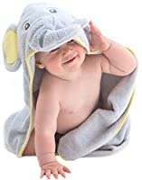 EXTRA SOFT Elephant Hooded Baby Towel - 100% Cotton Baby Bath Towel - Perfect For Baby Shower - Baby, Toddler & Kids - Boys & Girls
