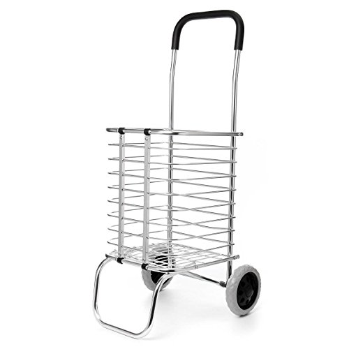 Vepson Grocery Shopping Portable Basket Aluminium Folding Trolley Cart