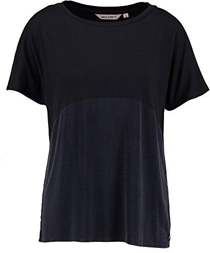 Garcia Jeans - Camiseta para Mujer (Talla S), Color Azul y Negro