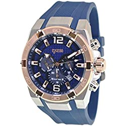 EXESS Italy Mens Wrist Watch Blue Carbon Analogue Dial Stainless Steel Silver-Gold Case Blue Rubber Band Japan Quartz Movement Waterproof (10ATM) Day Date and Dual Time Gift Box Elegant Fashion Sale