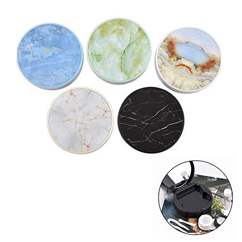 GOOTRADES 5 Stücke Kontaktlinsenbehälter, 7.6x2.9cm Tragbare Reise Kontaktlinsen Set inkl. Spiegel Pinzette Vorratsflasche Doppel Kassette Verschleiß Stick Marmor Design Contact Lenses Box Mehrfarbig - Doppel-marmor