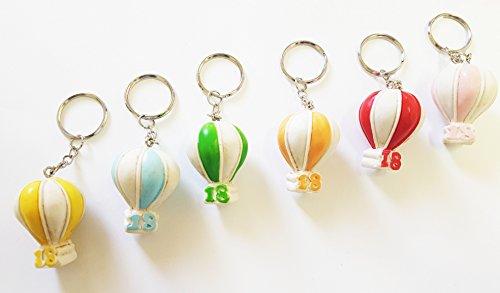 Takestop® set 12 pezzi bomboniera bomboniere mongolfiera 18 anni compleanno ceramica portachiavi porta chiavi chiave colore casuale