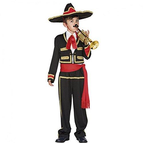 Kostüm Mariachi Junge (Kinderkostüm Mexikaner Junge Jacke Hose Hut Fasching Mexiko Sänger Musiker (7-9)