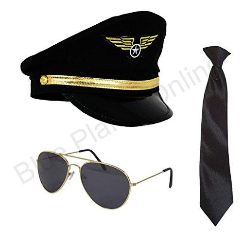 Captain Hat Cap & Aviator Sunglasses Fancy Dress ()