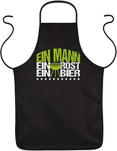 geile lustige Fun Grillschürze Ein Mann Ein Rost Ein Bier - Geschenk Grill Spaß Schürze Kochschürze Latzschürze Partyschürze Küche -