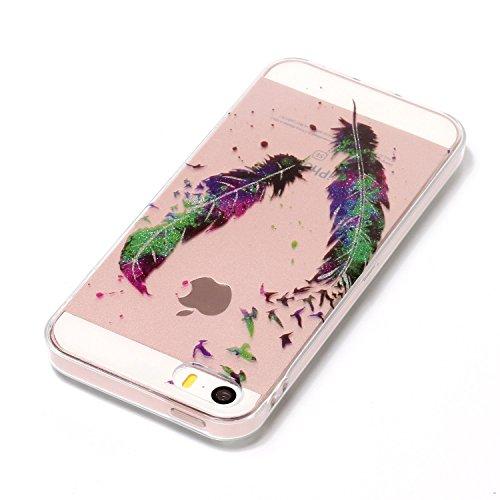 Etui Housse pour iPhone 5 5S,Transparent Coque pour iPhone SE,Leeook Mode Ultra Mince Pailletee Brillante Créatif Tisser Mer Modèle Cristal Clair Doux Flexible Silicone Caoutchouc Coquille Transparent Oiseau Plume