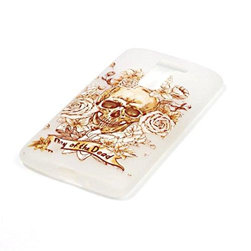 Vandot LG K10 Coque de Protection Etui Transparent Antidérapant Pour LG K10 Etui Protection Dorsale Étui Slim Invisible Housse Cover Case en TPU Gel Silicone Hull Shell-Blanc Light-crâne