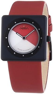Noon copenhagen Design 32014 - Reloj unisex de cuarzo, correa de piel color rojo de NOON Copenhagen