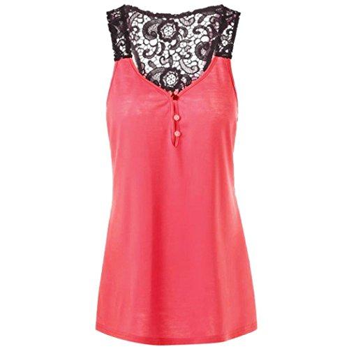 iHENGH Tank Top Damen Spitze Patchwork Knopf Bluse ärmelloses T-Shirt Crop Weste Plus - Flapper Kostüm Plus Größe