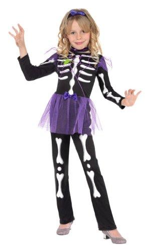 Kinderkostüm Kostüm für Kinder Halloween Fasching Karneval schwarzes Halloweenkostüm lila Tütü Tutu Skellet Skelletkostüm Skellie Punk Kostüm schwarz weiß lila Gr. 110-122 (S), 128-134 (M), Größe:S (Punk Kostüm Für Kinder)