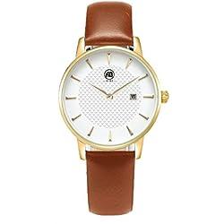 aibi Frauen Wasserdicht Ultradünne Schutzhülle Analog Quarz Armbanduhr mit Datum Funktion ab 52601-6