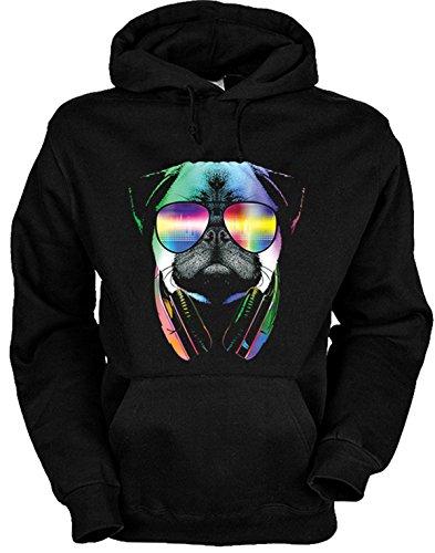 DJ Mops Hunde Print - Kapuzen Pullover Herren - Musiker Neon Pop Art Motiv - DJ Pug mit Sonnenbrille und Kopfhörer buntes Hunde Portrait - Musik Hoodie in schwarz Gr. M : )