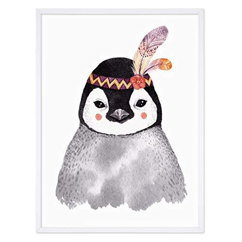 PHOTOLINI Kinder-Poster mit Bilderrahmen Weiss 'Pinguin Aquarell' 30x40 cm Kinderzimmer-Poster Bunt Indianer