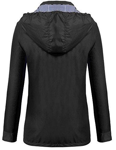 Tomasa Damen Übergangsjacke Kapuzenjacke lange Hülse Freizeitjacke wasserdichte Regenmantel-Jacke mit Minitasche Schwarz