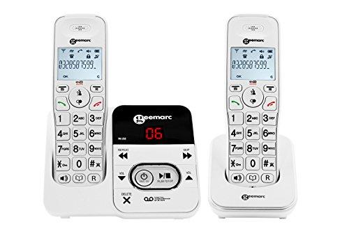 Geemarc Amplidect Inalámbrico 295 Duo con Un Disco De Audiencia Telefónica con Contestador Automático Integrado