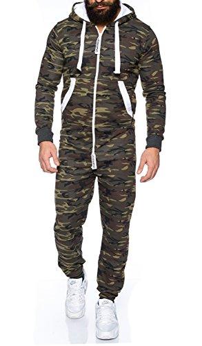 Lorenzo Loren Herren Jumpsuit [LL-204C Camouflage Grün S]