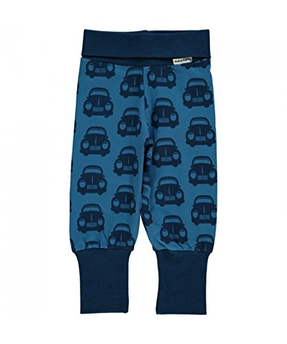 MAXOMORRA Baby Jungen Hose Blau Auto Car BioBaumwolle Gots - Größe: 80 -