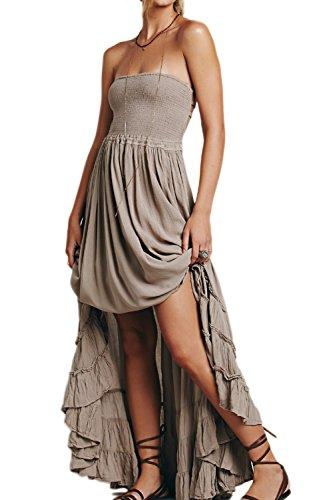 La Femme Est Élégant Halter Dos Nu Swing Beach Boho Maxi Robe Grey