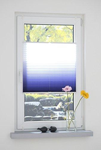 Liedeco® Klemmfix Plissee Farbverlauf verspannt inkl. Klemmträger /Breite x Höhe: 75 x 130 cm / Farbe: Blau / Plissee farbig zum Klemmen fürs Fenster / Sonnenschutz und Fensterdekoration innen / lichtdurchlässig und verstellbar / Innen-Montage ohne Bohren / 123 montiert / Falt-Plissee / Plissee-Rollo Sichtschutz Blendschutz