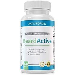 BeardActive - Complexe minéral multivitaminé pour une meilleure croissance de la barbe - 120 capsules fabriquées en Allemagne - dosage élevé - avec biotine, vitamine B2, vitamine B12 et calcium