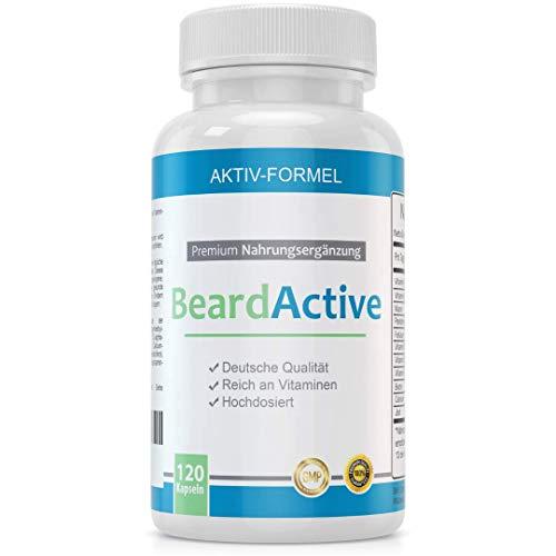 BeardActive - Multivitamin und Mineralien Komplex - MADE IN GERMANY - 120 Kapseln hochdosiert - mit Biotin, Vitamin B2, Vitamin B12, Calcium und vieles mehr -