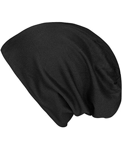 caripe leichte Long Beanie Mütze unisex viele Farben - su99 unifarben (schwarz)