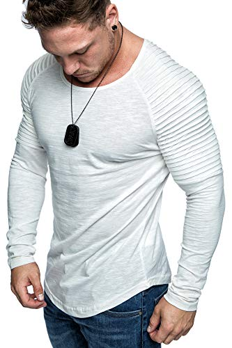 Amaci&Sons Oversize Biker-Style Herren Longsleeve Vintage Sweatshirt Crew-Neck Basic O-Ausschnitt Shirt 6095 Weiß L -