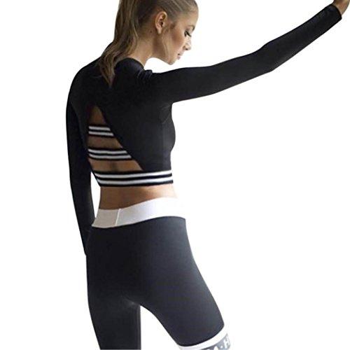 Upxiang Frauen Streifen Crop Top Sport Yoga T-Shirt Langarm Fitness Tops Damen Casual Sport Gym Bluse Pullover (Schwarz, S) (Top Crop Gym)