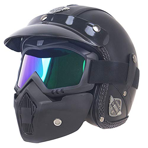 Casco de Moto Harley de Cuero Retro para Adultos Cascos de Motocicleta de Media Cara con Gafas Máscara Casco de Motocross Fresco Cascos de Moto