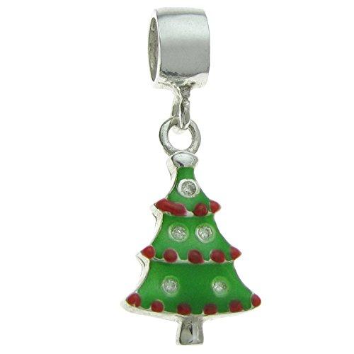 Queenberry-Ciondolo in argento Sterling Albero Di Natale Ciondolo Smaltato con zirconi charm stile europeo